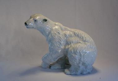купить фарфор, медведь, статуэтка фарфоровая белый медведь,белый медведь, Роял Дукс (Royal Dux)