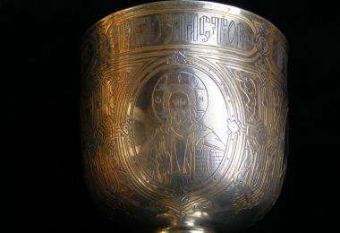 чаша евхаристическая, потир, чаша серебряная, серебро 84°, русское серебро