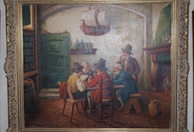 картина жанровая сцена, купить картину, масло, холст, мушкетеры, мужская компания в кабачке, Тенхаген, Tenhagen, письмо