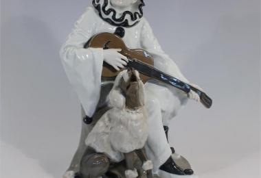 купить фарфор, статуэтка фарфоровая Дуэт, Пьеро с гитарой,   Пьеро с пуделем,  Розенталь (Rosenthal), Рудольф Маркус (Rudolf Marcuse), фигура фарфор Пьеро
