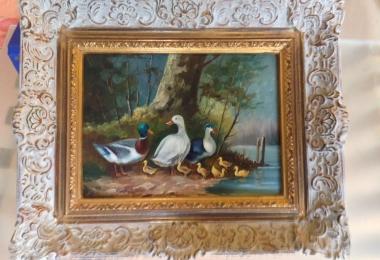 купить картину утки , доска, масло,  картины маслом, купить картину утки, пейзаж, утки на озере, утки