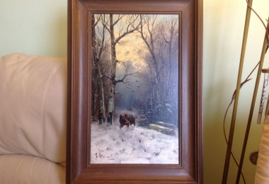 купить картину зимний пейзаж , картон, масло,  картины маслом, купить картину зимний пейзаж, картина кабан, кабаны в лесу, пейзаж, кабан в зимнем лесу,  зимний пейзаж