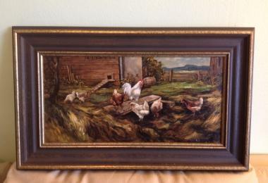 картина,холст, масло, купить картину , птичий двор, петух,  картина птицы,  картина птицы, картина птичий двор