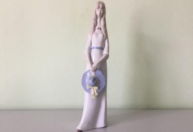 купить фарфоровую статуэтку, фигура фарфоровая, девушка с шляпкой,  девушка с шляпкой, фарфор Графенталь