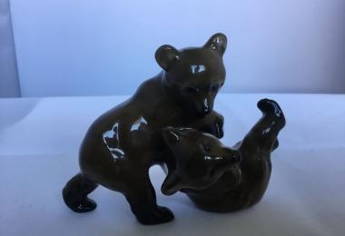 купить фарфор, статуэтка фарфоровая медвежата, играющие медвежата, медвежата,медведи  фарфоровые,  Фриц Хайденрайх, Fritz Heidenreich, Розенталь , Rosenthal, медведь фарфор