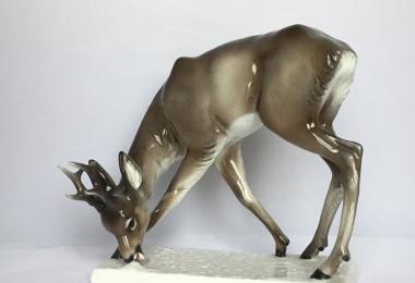 купить фарфоровую статуэтку  олень, статуэтка фарфоровая косули, олень фарфоровый, олень фарфор Розенталь, Rosenthal,  олень  Rosenthal, А. Реринг , A. Roering,  олень фарфор