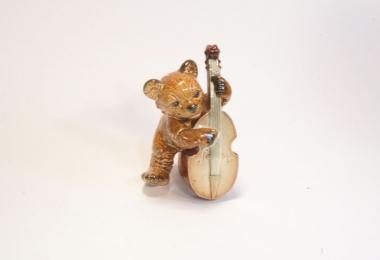 купить фарфор, фигурка фарфоровая мишка, мишка с контрабасом  Гебель (Goebel ) купить, медведь фарфор, статуэтки фарфоровые, фаянс,  керамика
