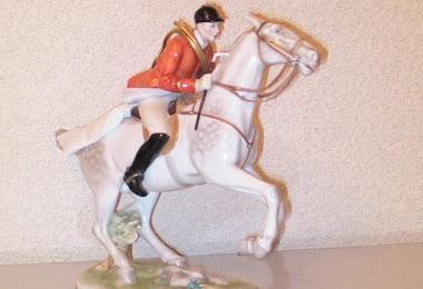 купить фарфор, статуэтка наездник, жокей фарфоровый, наездник на лошади, Розенталь (Rosenthal)