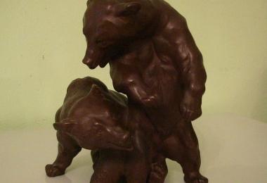 купить фарфор, статуэтка фарфоровая медведи, Эрих Хезель (Erich Hoesel), Мейсен (Meissen), два медведя
