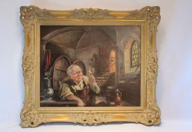 картина винодел, жанровая живопись, холст, масло,  картины маслом, купить картину винодел, картина монах в винном погребке