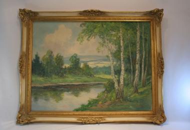 картина пейзаж , холст, масло,  картины маслом, купить картину березовая роща, картина классический пейзаж