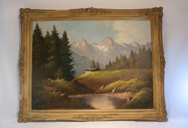 картина пейзаж  холст, масло,  картины маслом, купить картину альпийский пейзаж, картина классический пейзаж