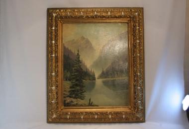 картина горный пейзаж, холст, масло, купить картину, изображающую горное озеро, интерьерный пейзаж.