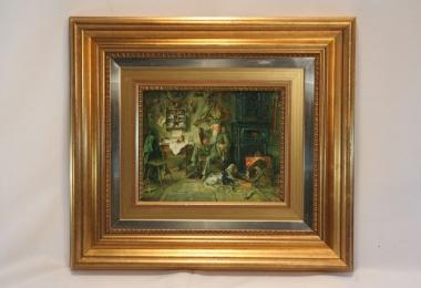картина, купить картину, доска, масло, жанровая сцена, охотничий домик, охотник с трубкой и собаками