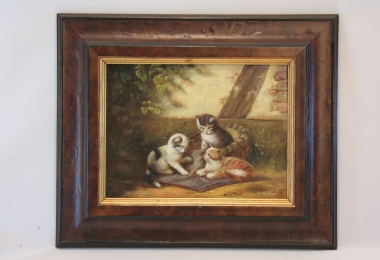картина, доска, масло, купить картину , коты, жанровая сцена,  известного художника, писавшего животных,  С. Кох, S. Koch