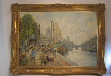 картина, масло, холст, купить городской пейзаж, цветочный базар,  набережная Амстердама,  Ф.М. Рихтер-Райх,  F.M.Richter-Reich