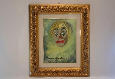 картина портрет клоуна, картины маслом, купить портрет, масло, картон, Романо Муссолини, Romano Mussolini