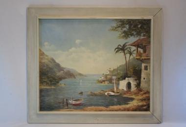 картина морской пейзаж, купить живопись, холст, масло,  морской залив с пальмами, лодками ,побережье