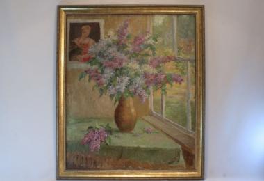 картина натюрморт, купить картину, масло, холст, букет сирени, картина сирень,  А.П.Баранов
