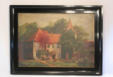картина жанровый пейзаж,классическая живопись, купить картину, масло, холст, поместье, парковая живопись, К.Лоренц,K.Lorenz