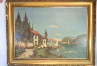 купить картину морской пейзаж , холст, масло,  картины маслом, купить картину марина, картина морской залив, картина рыбачий поселок