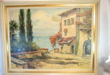 купить картину морской пейзаж , холст, масло,  картины маслом, купить картину марина, картина морской залив, картина Лаго Маджоре, Италия