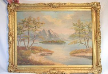 купить картину романтический пейзаж , холст, масло,  картины маслом, купить картину озеро