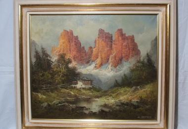 картина горный пейзаж, холст, масло, картины, Хартунг Генрих (Heinrich Hartung), картины маслом, купить горный пейзаж, картина горы