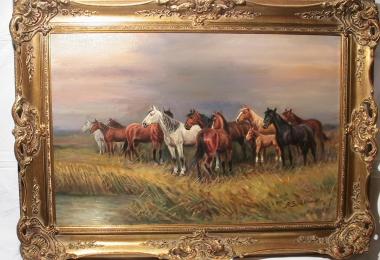 картина лошади, холст, масло, картины, Шелоумов  Афанасий , A.Scheloumoff, картины маслом, купить картину лошади, картина кони, картина лошади на водопое , Шелоумов Афанасий Иванович