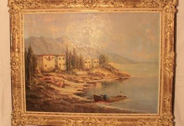 картина горное озеро, холст, масло, картины , Ганс Богоевич , Hans Bogojevic, hans  bogojevic, картины маслом, купить картину горный пейзаж, картина горное озеро