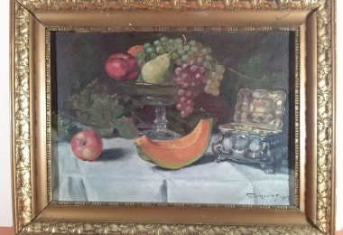 картина натюрморт, купить картину, натюрморт с  фруктами, холст, масло, натюрморт,Ф. ф. Гюрковиц (F. v. Gyurkovits)
