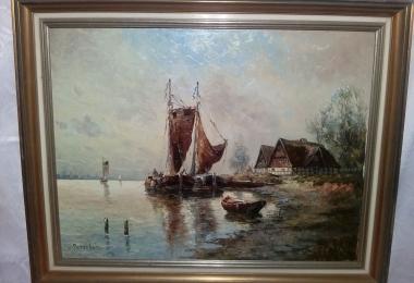 голландский пейзаж, купить картину, морской пейзаж, картина корабли, пейзаж, картина корабль холст, масло, морской вид, Petersen