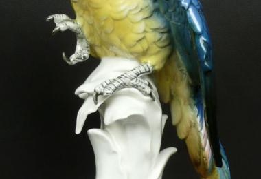 купить фарфор, фигура фарфоровая попугай,  фарфоровый попугай ара, попугай фарфоровый, фарфор Германия, фарфор Карл Энс (Karl Ens)