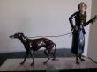 бронза, шпиатр, металл, дама с собакой бронза, бронза дама с борзой, металлическая фигура, фигура бронзовая арт-деко, дама с борзой, фигура Georges Gori