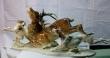 купить фарфоровую статуэтку, статуэтка фарфоровая,олень фарфоровый, олень и две собаки фарфоровые, сцена охоты Хутченройтер  (Hutschenreuther), художник Карл Туттер (Karl Tutter)